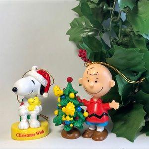 2 Peanuts Ornaments - Charlie Brown & Snoopy